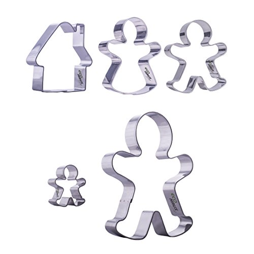 Eco Haus Living Cookie Cutters Gingerbread Man - Stainless Steel - Shaped 5 Pcs Set - Easy To Clean - Ideal for Fruits Dough Fondant and More