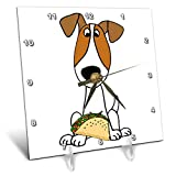 3dRose All Smiles Art - Pets - Cute Funny Jack Russell Terrier Puppy Dog Eating Taco - 6x6 Desk Clock (dc_291134_1)