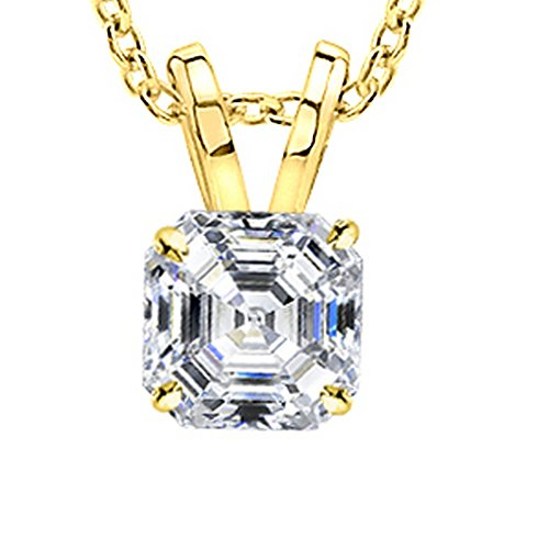 "1/2 Carat GIA Certified 14K Yellow Gold Solitaire Asscher Cut Diamond Pendant (0.5 Ct G-H Color, VS1-VS2 Clarity) w/ 18"" Gold Chain"