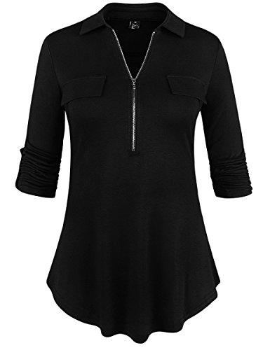 St. Jubileens Lapel V Neck Casual Shirt Lapel Half Zip Long Sleeve Blouse Pullover Tops Black L