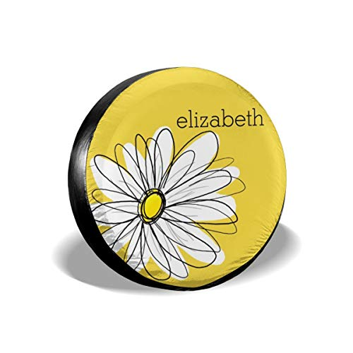 - Becmd Yellow and White Whimsical Daisy with Custom Text Decorative Universal Spare Wheel Tire Cover Fit for Truck Camper Van,Jeep,Trailer, RV, SUV Trailer Accessories15(Diameter 27