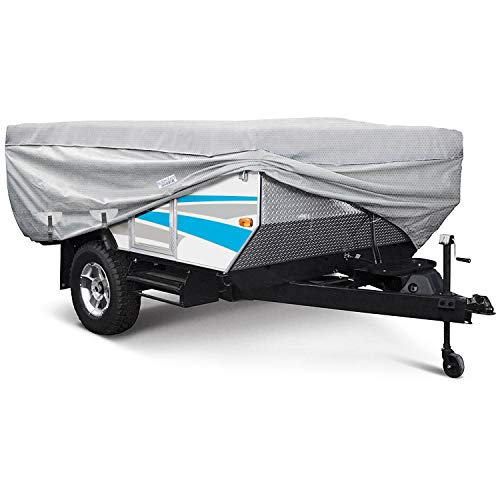 Waterproof Superior Folding Camping Travel Trailer Storage Cover Fits Length 12'-14' Heavy Duty 4 Layer Fabric Pop-Up Tent Trailers Cover - 180 L x 88 W x 42 H