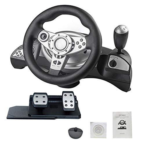 Driving Force Ps2 - Owlhouse Steering Wheel, Racing Computer Game Racing Wheel, Driving Force USB Racing Wheel with Pedals for PC Computer/PS2/PS3/PS4/X-input/Steam PS3/D-Input/X-Input, Console Vibration Pedals