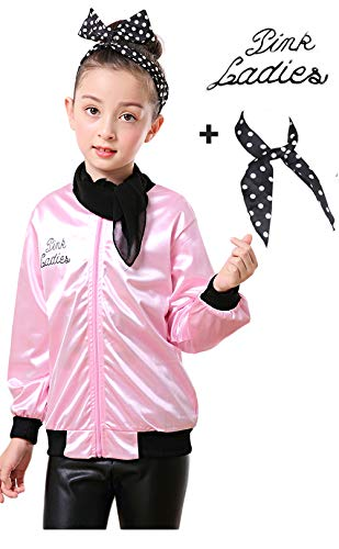 Girls 50s Grease Pink Ladies Jacket Satin Hen Party Costume Scarf (XS, -