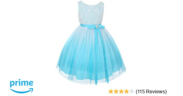 46ce496b757 Tulle Rosette Spring Easter Flower Girl Dress in Ombre Fuchsia Aqua Purple  Red 2-14