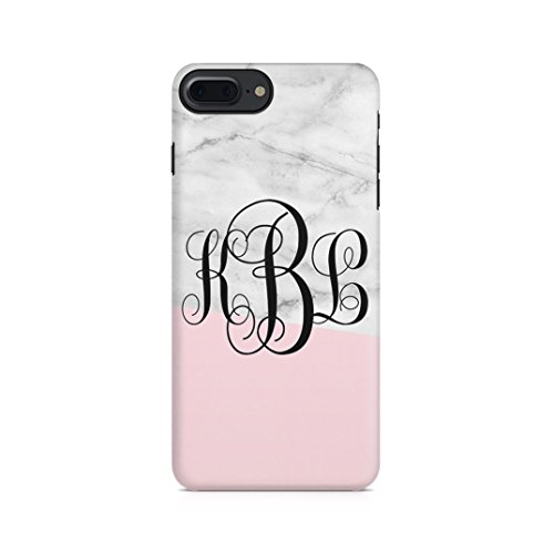 Pink Monogram Iphone (Personalised White Pink Marble Custom Customizable Monogram Initial Name Protective Hard Plastic Case Cover For iPhone 7 Plus / iPhone 8 Plus)