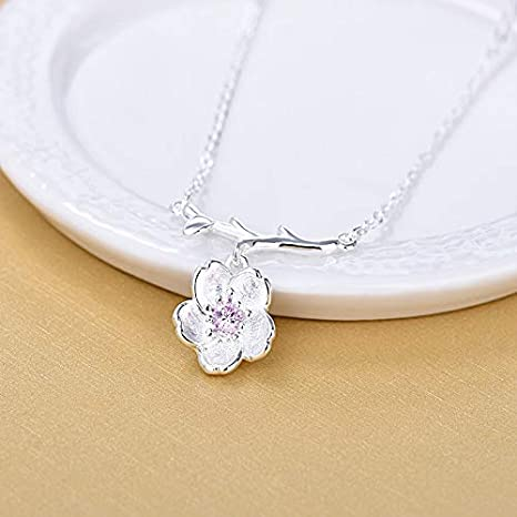 Metal Color: Silver Plated, Length: 21-50cm Davitu Fashion Flower 30/% Silver Plated Charms Necklaces Women Pink Pendant Link Chain Necklaces Woman Female Jewelry Girl Gift