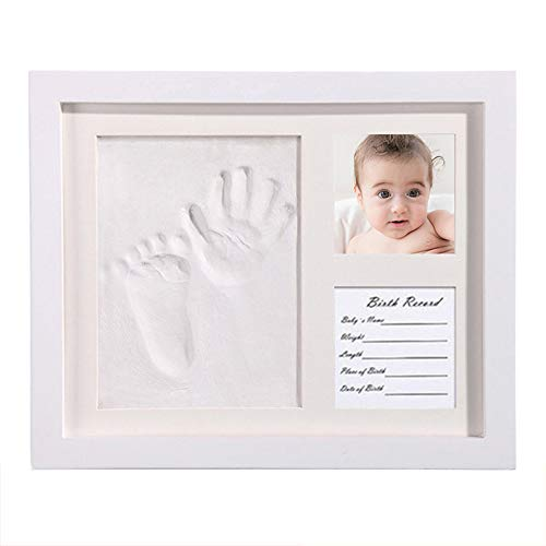 BRKURLEG Newborn Baby Clay Hand Print Picture Frame for Newborn, Keepsake Box for Boys and Girls, Best New Mom Gift - Foot Impression Photo Keepsake for Girls and Boys, Wall Photo Decoration (The New Rainbow Bridge Poem For Dogs)