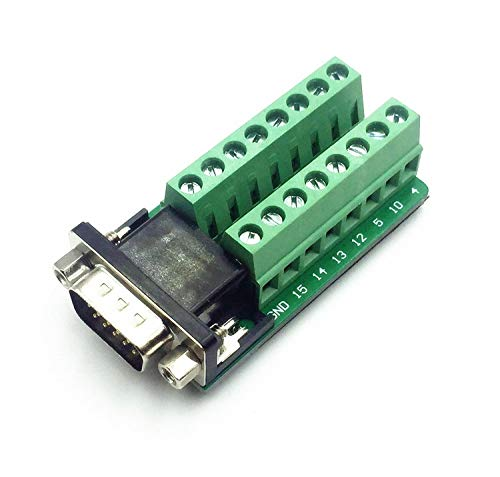 (D-SUB DB15 VGA Male 3Row 15Pin to Terminal Breakout Board Connectors)