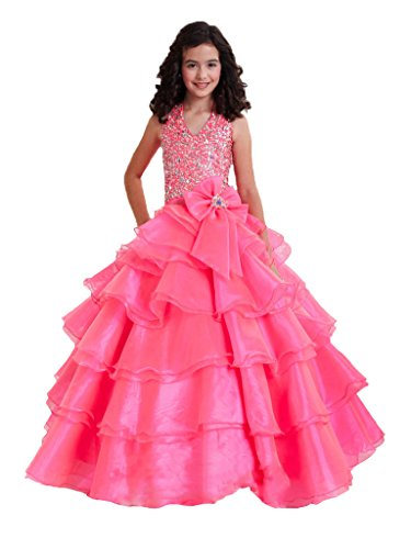 GreenBloom Sequins Bowknot Girls' Princess Birthday Dress Pageant Ball Gowns Pink 10