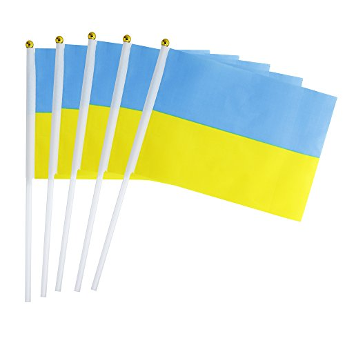 25 Pack Hand Held Small Mini Flag Ukraine Flag Ukrainian Flag Stick Flag Round Top National Country Flags,Party Decorations Supplies For Parades,World Cup,Festival Events ,International Festival