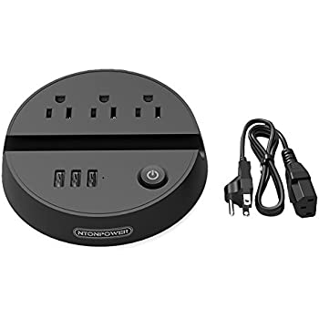 Travel Power Strip with 3 Outlets 3 USB Ports and Phone Stand Round Design Energy Saving Switched Charging Station with 5ft Long Detachable Extension Cord for Office Home Desktop Business Trip - Black