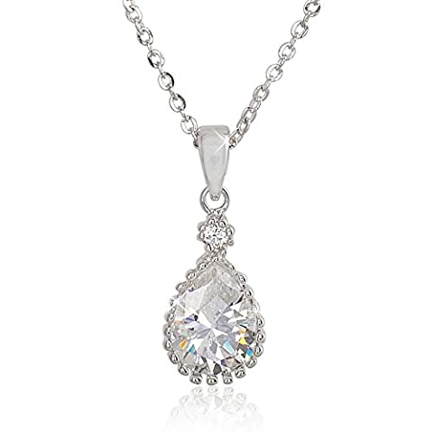 Teardrop Cubic Zirconia Necklace Pendant - A Pretty Necklace That Sparkles Like a Diamond For Women and - Cubic Zirconia Pendant Jewelry