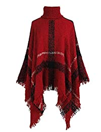 BIUBIONG Women's High Neck Loose Plus Size Fitting Poncho Cape Shawl Pullover Sweater