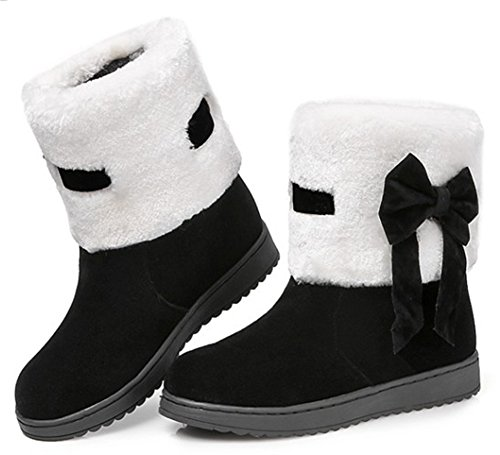 IDIFU Womens Sweet Bow Faux Fur Lined Flat Snow Boots Ankle High Thick Winter Booties Black 0Tzmq5WR1