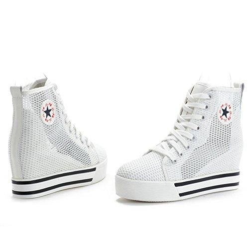 Shenn Mujer Respirable Cuña Talón Oculta Nylon Entrenadores Zapatos 6856 Blanco
