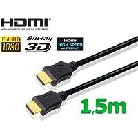 conecto HDMI Kabel HIGH SPEED mit Ethernet (vergoldete Stecker, 4K, Ultra-HD, Full HD 1080p, 3D) 1,5m schwarz