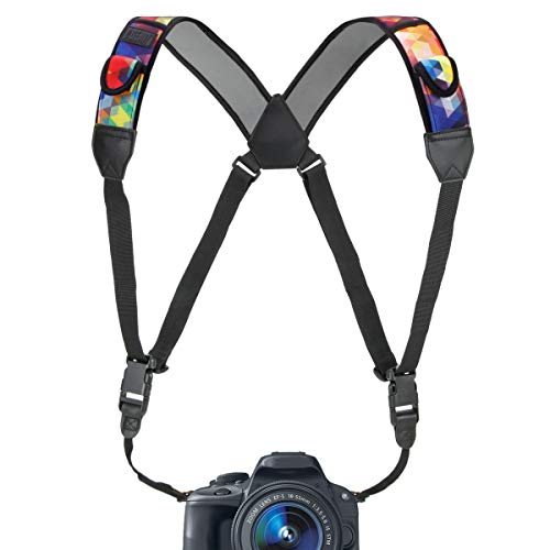 USA Gear DSLR Camera Strap Chest Harness with Geometric Neoprene Pattern and Accessory Pockets - Compatible with Canon, Nikon, Fujifilm, Sony and More Point and Shoot, Mirrorless Cameras