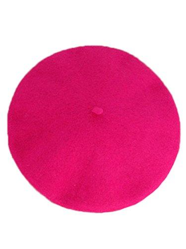 Wool Blend French Beret Hat Cap Unisex Hot Pink
