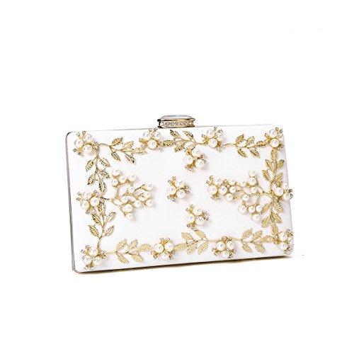 Women's Satin Flower Evening Clutch Pearl Beaded Evening Handbag (Clutch Purse)