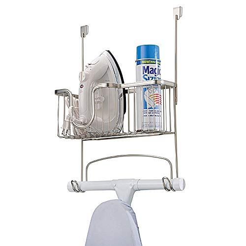 mDesign Metal Wire Over Door Hanging Ironing Board Holder with Large Storage Basket - Organizer Holds Iron, Board, Spray Bottles, Starch, Fabric Refresher - for Laundry, Utility Room, Garage - Satin