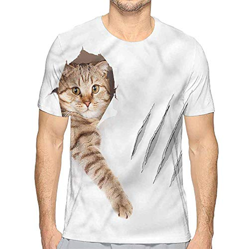 t Shirt Animal,Funny Cat in Wallpaper Hole Printed t Shirt L]()