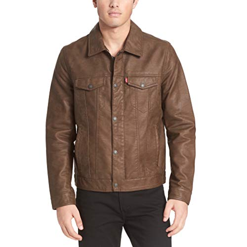 Levi's Men's Smooth Lamb Touch Faux Leather Classic Trucker Jacket, Buffed Cow Earth, Large