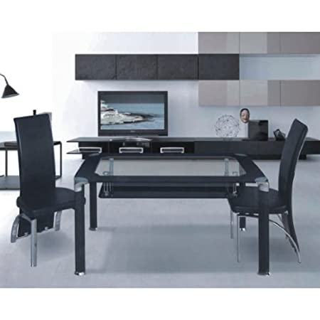 Phoenix Black Glass Dining Set 4 Chairs Amazoncouk Kitchen Home