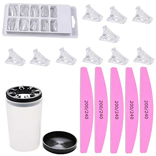 (PIAOPIAONIU 1 Set Quick Building Poly Builder UV Gel Tools Kit Finger Extension Tips Mold,Finger Clip,Cuticle Pusher Buffer File with Washing Cup Bottle Nail t )