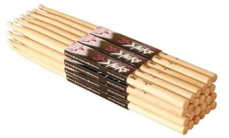 On Stage 5A Maple Drum Sticks - 12 Pair, Wood Tip Music People MW5A
