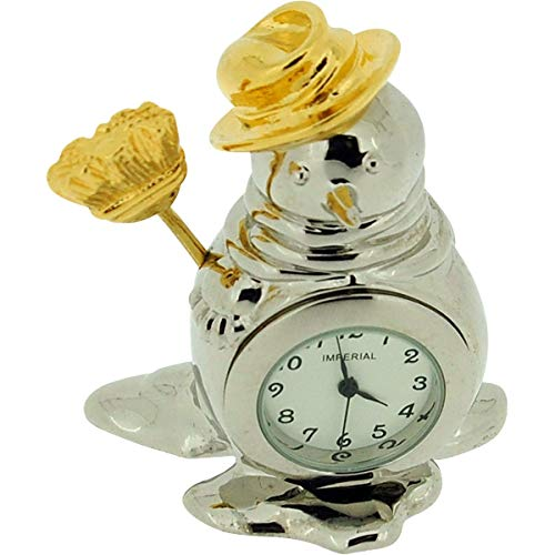 (GTP Miniature Silver Plated Snowman With Broom Novelty Collectors Clock IMP1061)