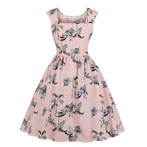 Retrò Da Swing Abito 1950 Senza Cocktail Rosa Bodycon Rockabilly Polka Vestito Prom Annata Dress Maniche Stampa AwSx1q5wz