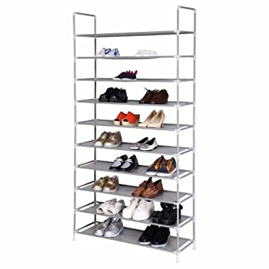 SONGMICS 10 Tiers Shoe Rack 50 Pairs Non-woven Fabric Shoe Tower Organizer Cabinet Black 39 3/8  x 11 3/8  x 68 7/8  ULSH11H