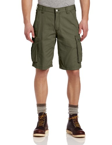 Carhartt Men's Rugged Cargo Short Relaxed Fit,Army Green,42 (Shorts Front Flat Misses)