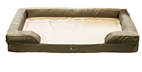 PetBed4Less Deluxe Dog Bed Sofa & Lounge w/Premium Orthopedic Memory Foam Chew Resistant Removable Zipper Cover + FREE Elite Waterproof Liner + FREE Waterproof Silky Dog Blanket