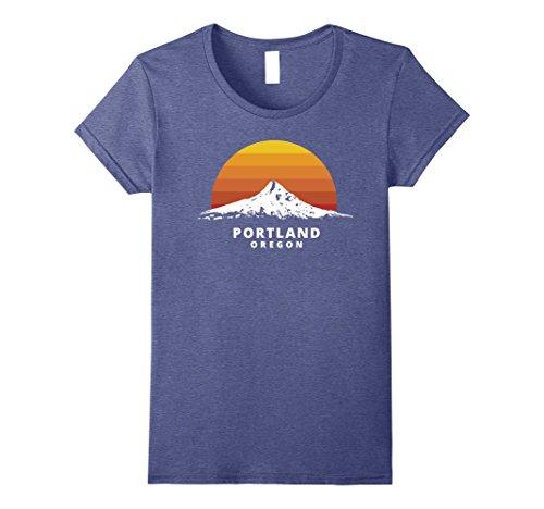 Womens Portland Oregon Mt  Hood Sunset T Shirt   Clean Variant Medium Heather Blue