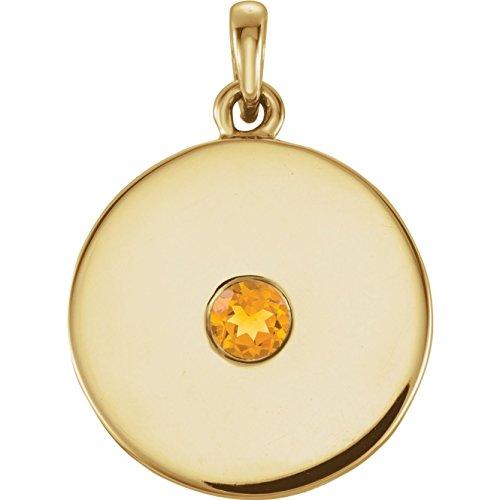Bonyak Jewelry 14k Yellow Gold Citrine Disc Pendant