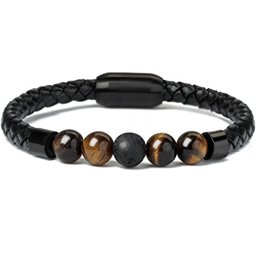 (Ckysee Magnetic Clasp Leather Bracelet with Howlite Tiger Eye Lava Energy Healing Healing Stones Gift for Men 8.5
