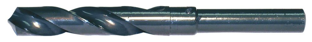 High Speed Steel 118-Degree Radial Point 23.00 mm Drill Diameter Reduced Shank Cle-Line C21087 Silver and Deming Reduced Shank Drill Steam Oxide Finish