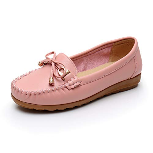 Toimothcn Women Penny Loafers Split Leather Slip-On Comfortable Driving Moccasins Flats Ballet Shoes(Pink2,US:8)