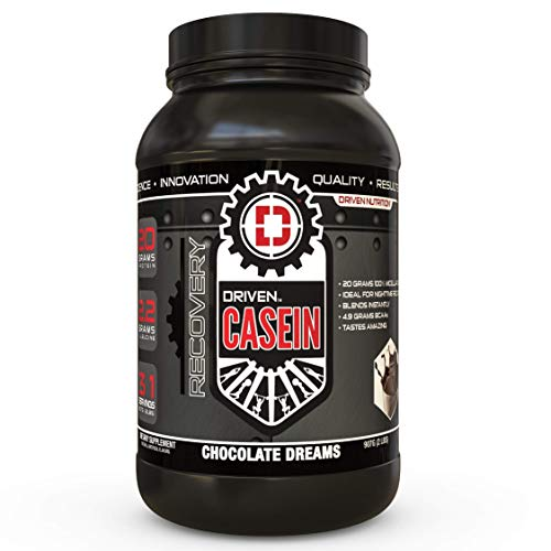 Driven Casein- 100% Micellar Casein Protein Powder with Added BCAA and Digestive Enzymes for Nighttime Muscle Recovery