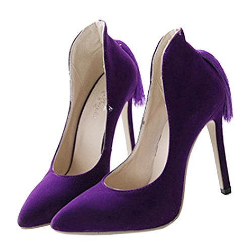 cut Thin Back High Shoes 36 Low Tassel Pointed Heel Heel Wedding purple q0H0atn
