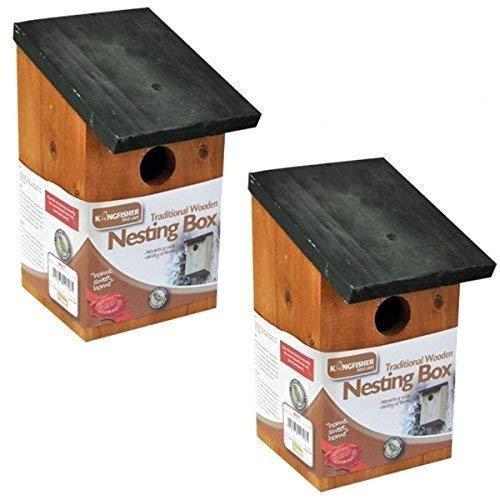 8 x Traditional Garden Shed Wooden Wild Bird Nesting Birdhouse Box Robin Bluetit