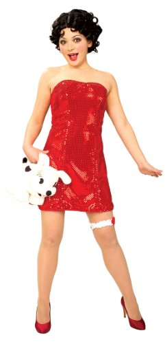 [Secret Wishes  Betty Boop Costume With Wig, Red, X-Small] (Halloween Betty Boop Costume)