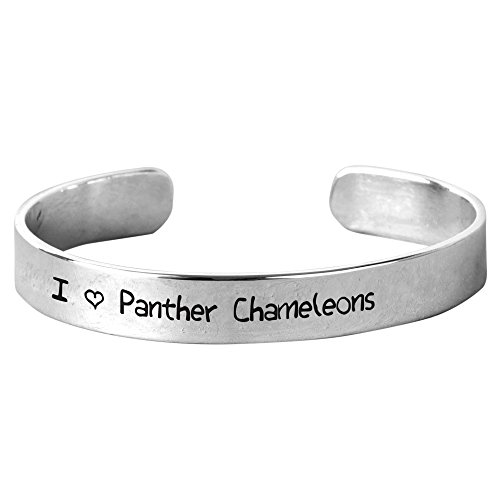 I Love Panther Chameleons - Unisex Hand-Stamped Aluminium Bracelet