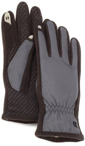 Isotoner Women's SmarTouch Nylon Glove with Gathered Wrist, Charcoal, Medium/Large