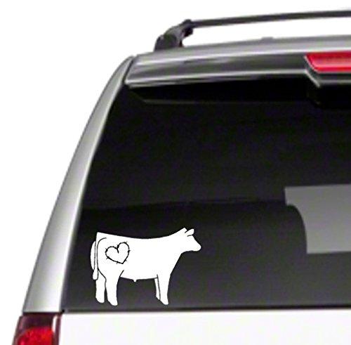 """Love Steer Car Vinyl Sticker Decal 6"""" show beef club calf cattle farm ranch heart 4H FFA *J20"""