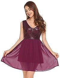 Dethler Women Sequin Dress V Neck Sleeveless Sparkle Cocktail Club Party Dress