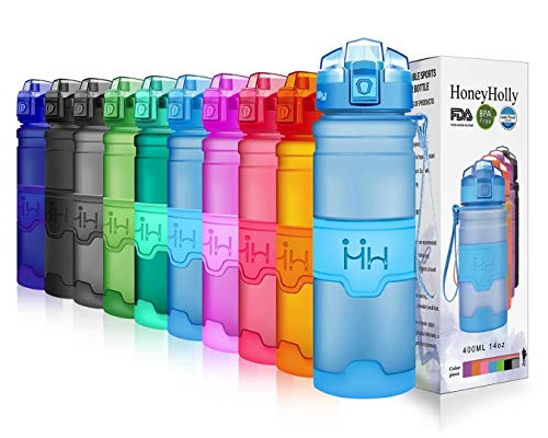 HoneyHolly Portable Sports Water Bottle-Leak Proof Kids Water Bottle Reusable Container,One Click Flip Cap14/17/24/32Ounce,for Outdoor/Camping/Running/Gym,Non Toxic,BPA-Free Tritan Plastic