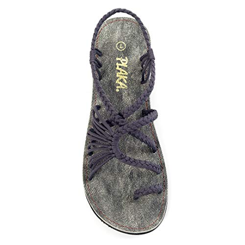 Plaka Sandals for Women Anchor Gray Size 9 Palm Leaf ()